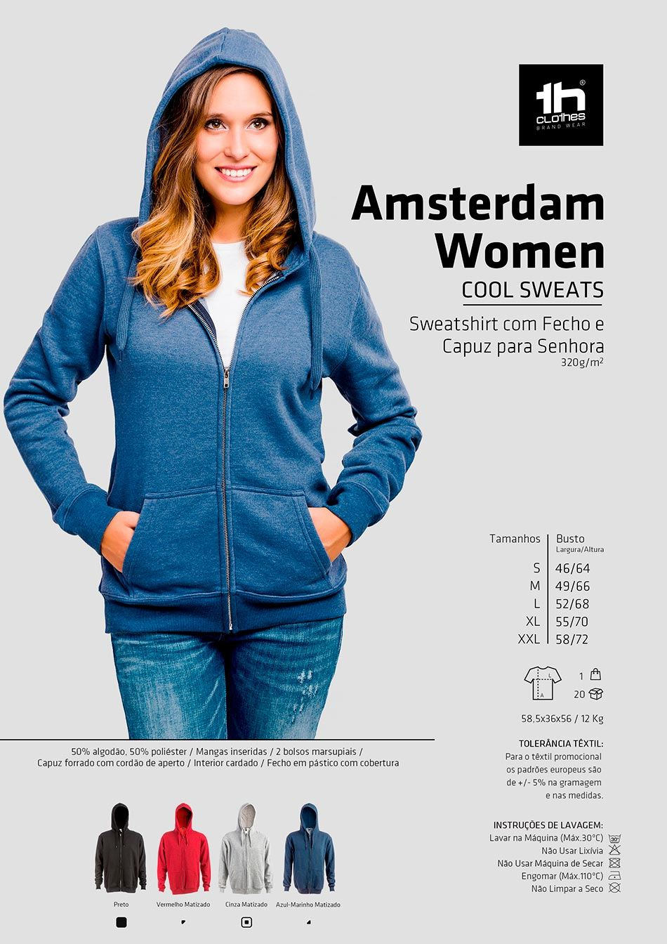 Sweatshirt com Fecho TH Clothes Amsterdam (5050) | Maudlin